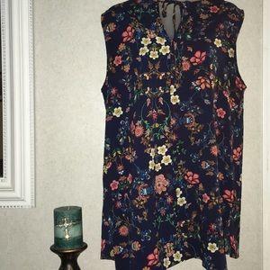 Bobeau sz. XL sleeveless floral blouse BNWOT!